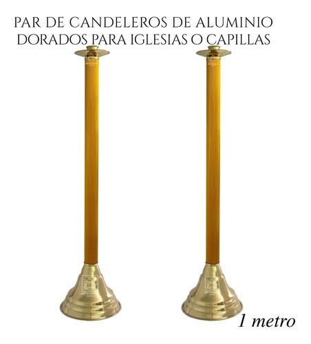 Imagen 1 de 3 de Candelero De Aluminio 100 Cm 2 Piezas Para Iglesia O Capilla