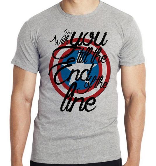 Camiseta Infantil Kids Capitão América Escudo End Line Marve