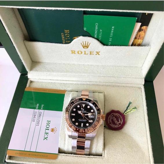 Rolex Gmt Master 2 Rose Prata Marrom Caixa E Documento