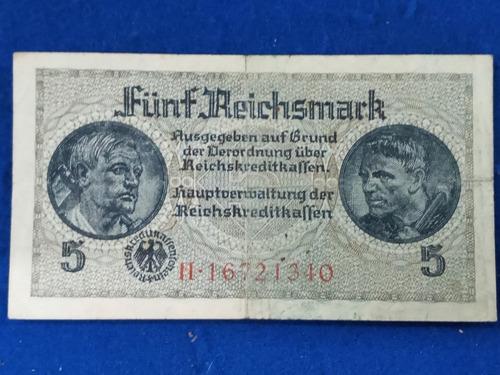 Alemania 5 Reichmark 1939 * Ocupacion Segunda Guerra Mundial