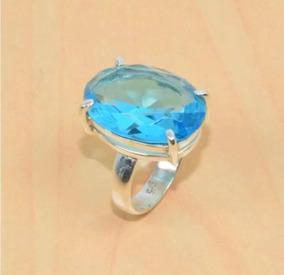 Anel De Prata Esterlina Solida E Pedra Azul