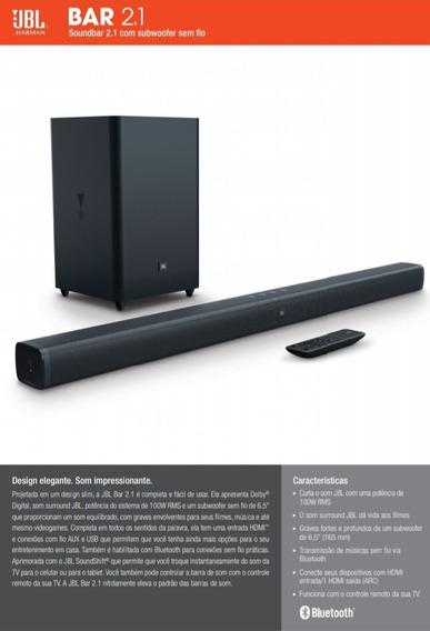 Soundbar Jbl Bar 2.1 Subwoofer Sem Fio Bluetooth Hdmi 100w