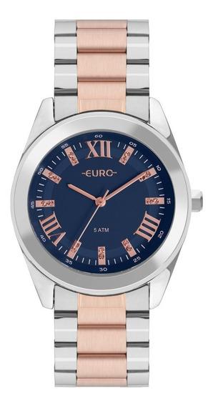 Relógio Feminino Euro Luxo Prata E Rose Romano Prova D