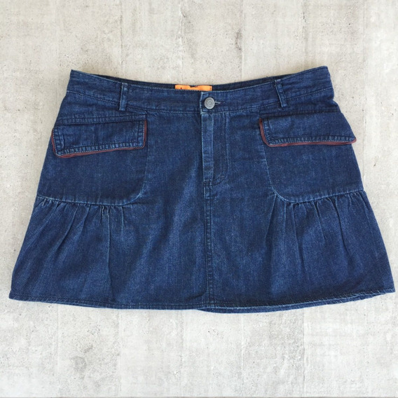 Mini Saia Colegial Jeans Escuro Chintys