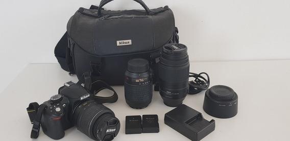 Kit Câmera Nikon D3100 Com 3 Lentes