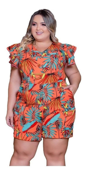 Macaquinho Plus Size Estampado Roupas Moda Feminina 01