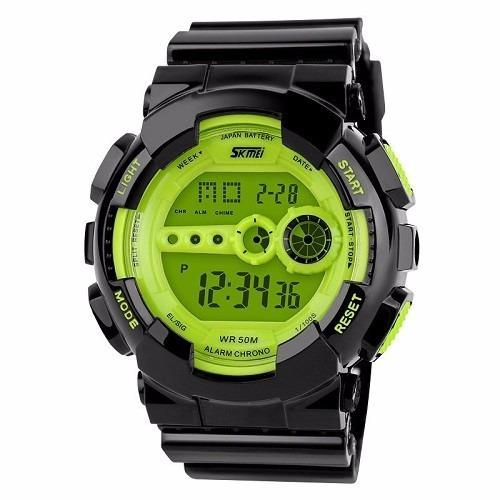 Relógio Skmei Digital Preto E Verde Com Led Verde - Original