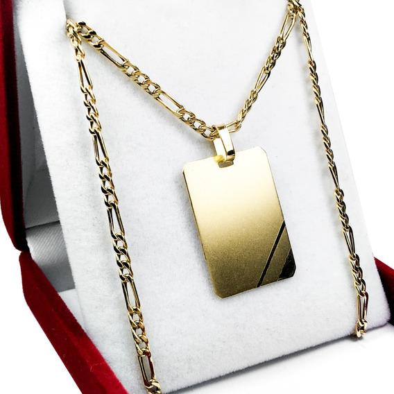 Conjunto Oro 18 K Medalla Para Grabar Grande Hombre Papa