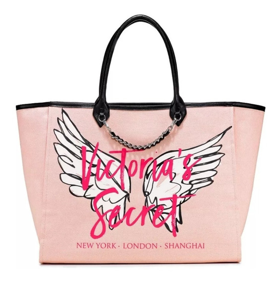Bolso Tote Bag Playero Victorias Secret Lona Signature