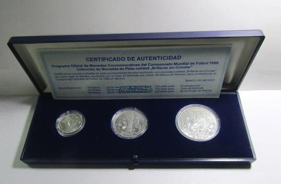 Mexico 1985 Futbol Mundial 1986 Set 3 Monedas Plata Unc