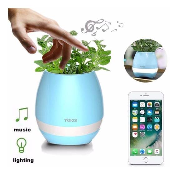 Vaso Planta Musical Sensor Toque Som Bluetooth Cel E Led