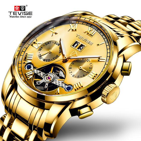 Relógio De Pulso Mecânico Automático Para Homem Dourado