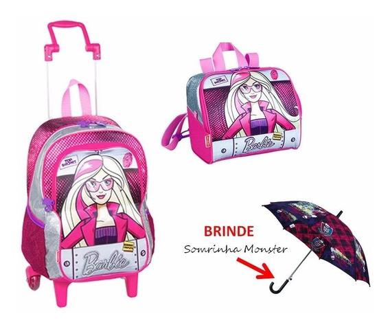 Kit Mochilete M + Lancheira Barbie Agentes Secretas + Brinde