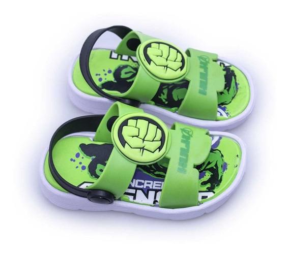 Sandalia Verde Marvel Hulk Niñas Niños Atomik Goma