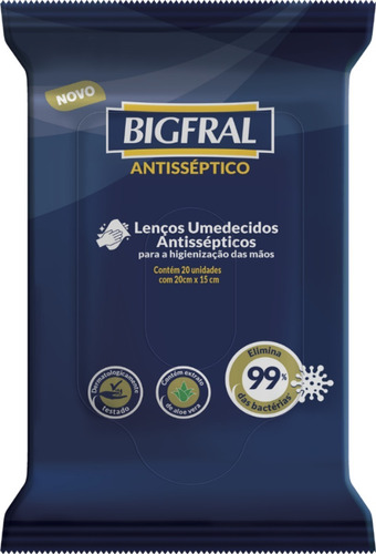 Lenço Umedecido Antisséptico Bigfral 20 Unidades