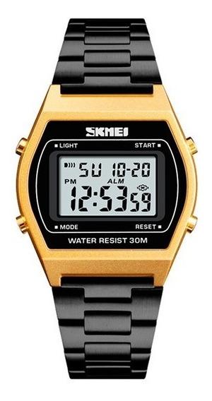 Reloj Caballero Mujer Deportes Tipo Casio Digital Metálico Ajustable Reloj Unisex - Color Negro Con Dorado