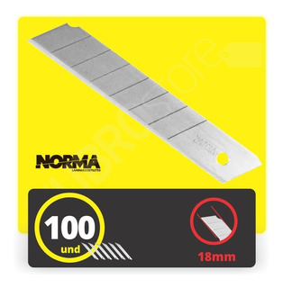 Lâmina Norma Larga Estilete De 18mm Profissional C/100