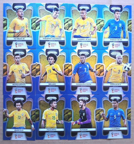 Lote 12 Cards Prizm Brasil Série Azul #/199 Copa Mundo 2018