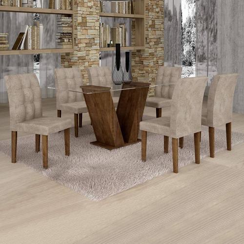 Mesa De Jantar Classic Tampo De Vidro 6 Cadeiras Ef