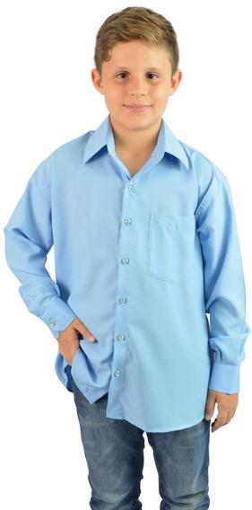 Camisa Social Infantil Azul La Ferrier - Aproveite Já