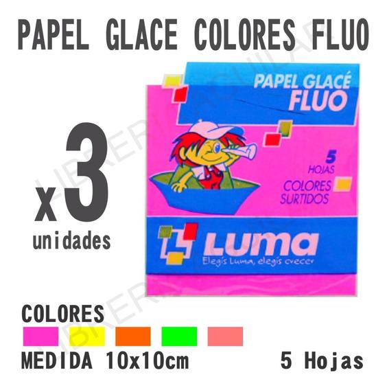 3 Paquetes De Papel Glace Colores Fluo