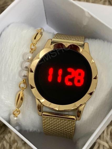 Relógio Digital Led Feminino Redondo Barato +pulseira +caixa