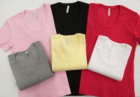 Camiseta Mujer X 12 Unidades Algodón Lista Para Estampar