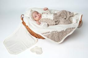 Kit Saída Maternidade Bebê Oncinha Creme