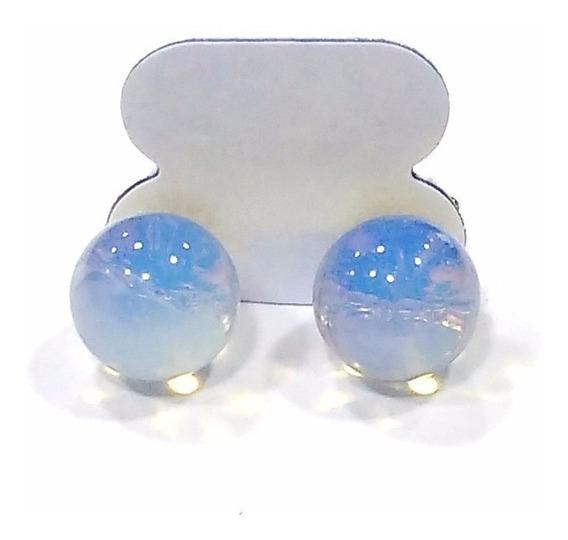 Brincos Esfera De Pedra Da Lua Opalina Folheado A Ouro Lindo