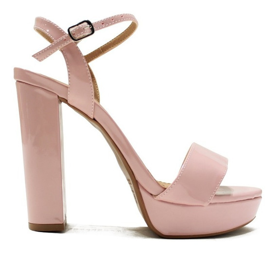 Zapato De Mujer Sandalia De Fiesta Taco Palo Comoda Cherry