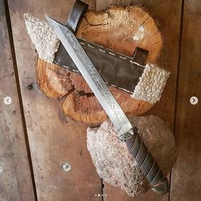 Cuchillo Artesanal Vikingo Seax Acero Al Carbono Forjado