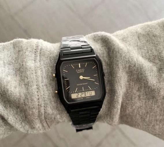 Relógio De Pulso Cassio Digital Analógic Black Aq-230 Unisex
