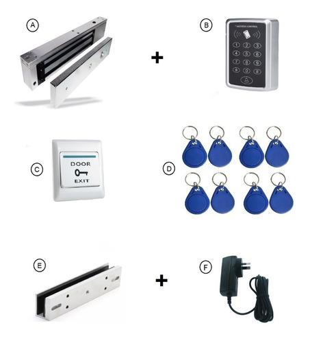 Kit Cerradura Magnética Control Acceso Puerta Vidrio Blindex
