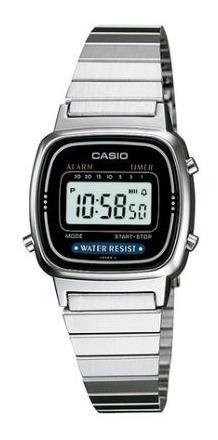 Relógio Casio Vintage Feminino Prata Digital - La670wa-1df