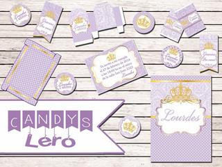 Fiestas Infantiles Kit Imprimible Candy Bar Corona Lila Sofi