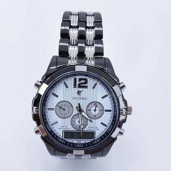Relógio Masculino Potenzia Importado Luxo Prata Promoção