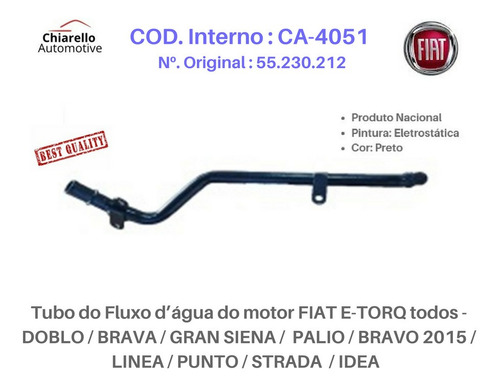 Tubo Dágua Fiat E-torq Todos Doblo Linea Punto Strada Idea