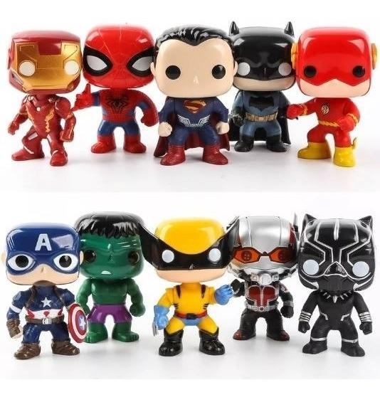 Kit Com 3 Bonecos Funko Pop Vingadores Marvel Liga Justiça