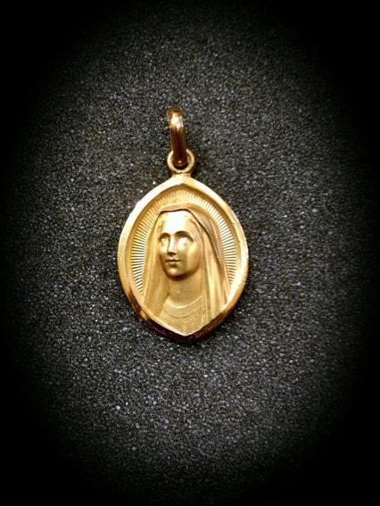Medalla Oro 10k Virgen De Medjugorje #1019