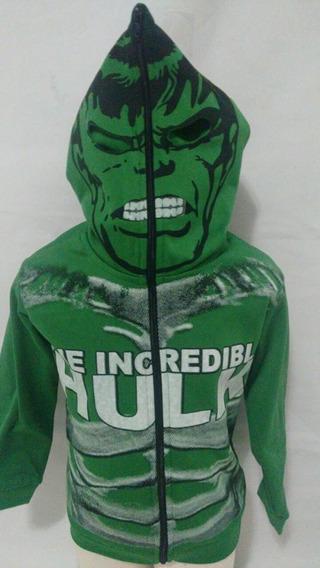 Blusa De Frio Hulk C/ Capuz Q/vira Mascara+brinde 2 A 10anos