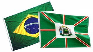 Kit Bandeira Oficial De Goiania Estado Goias 1.30 Mt.