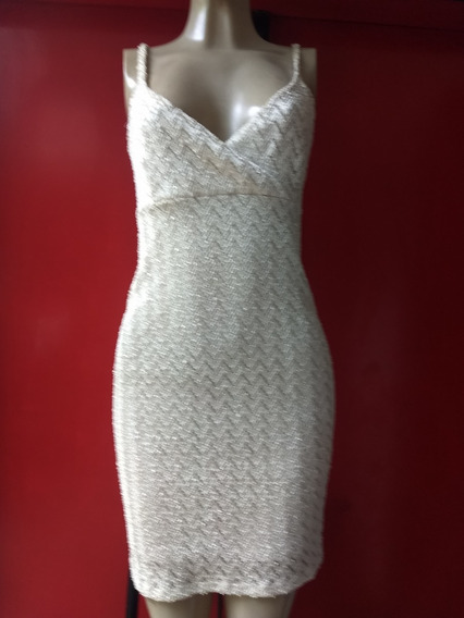 Vestido Feminino Perolado Texturizado Zig Zag - Semi Novo M