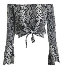 Ciganinha Amarrar Cropped Blusas Femininas Manga Longa #ca