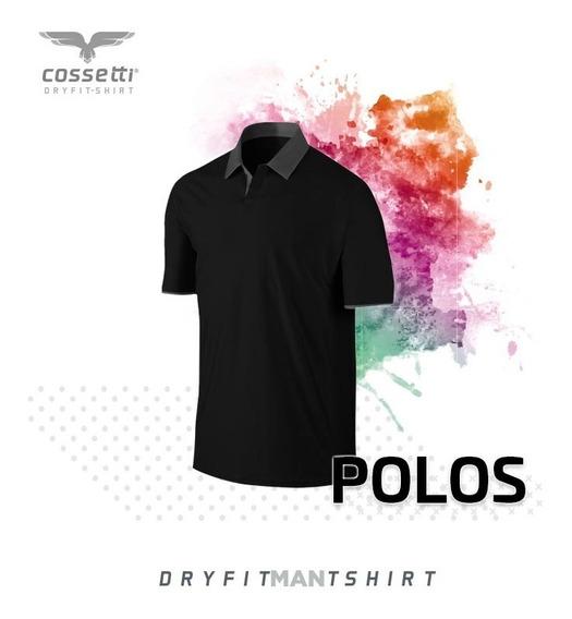 Playera Tipo Polo Cossetti Corta Dry Fit Combinala Xl 2xl