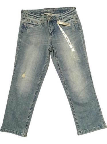 Jeans Crop Mujer Celeste Sutil Ripped T/38 Marca Refuge