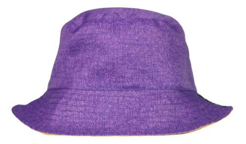 Imagen 1 de 3 de Bucket Hat Morado Rústico / Amarillo