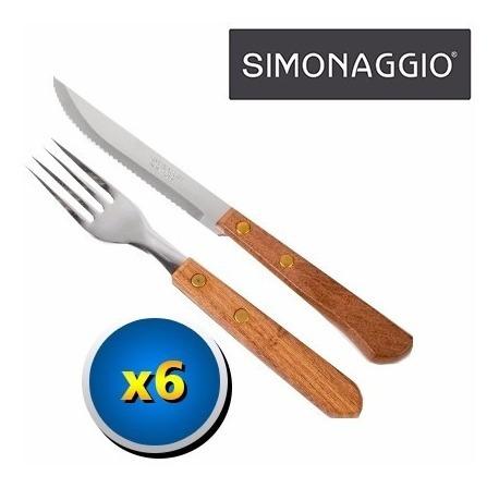 Set 12 Cubiertos: 6 Tenedor + 6 Cuchillo Simonaggio Cocina