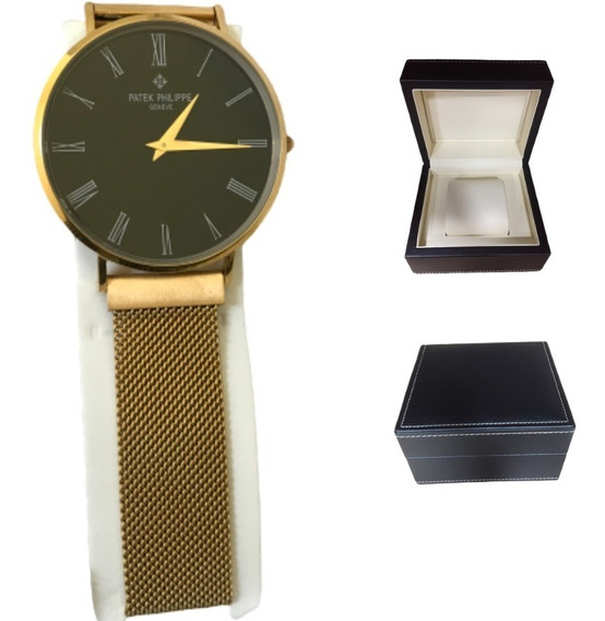 Relógio Patek Philippe Aço Fino - Caixa De Couro Top