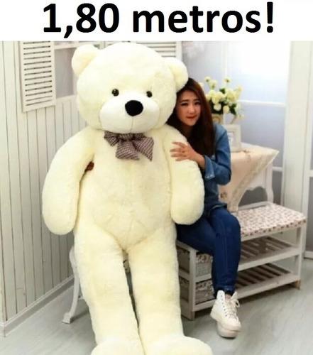 Urso Creme De Pelúcia Gigante 1,80 Metros Vai Pronto E Cheio