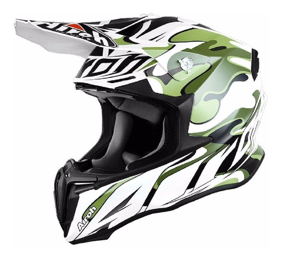 Casco Cross Enduro Airoh Twist Mimetic Blanco Mate Importado